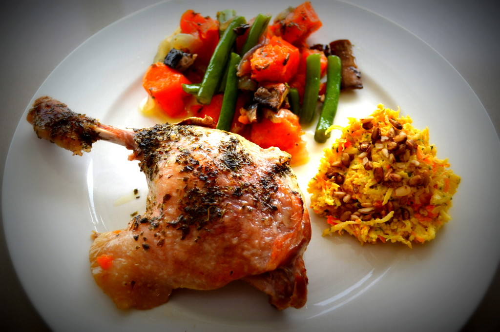 Duck maryland with vegies and celeriac salad